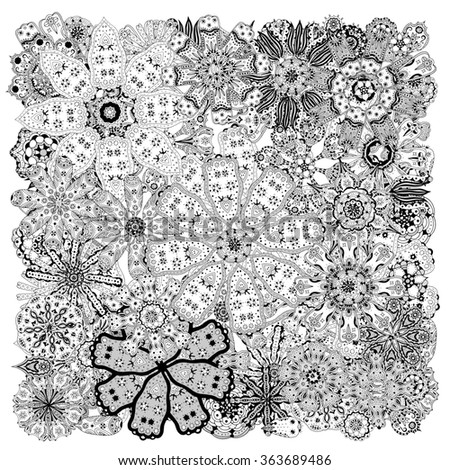 Different doodle flowers and plants. Hand sketched designer's kit can be used for wallpaper, pattern fills, web page background, surface textures. Gorgeous floral elements - stock photo