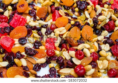 Different dried fruits pattern, used as a background - stock photo