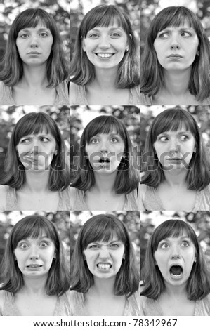 different emotions of a girl, nine photos - stock photo