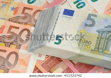 Different Euro money bills background - stock photo