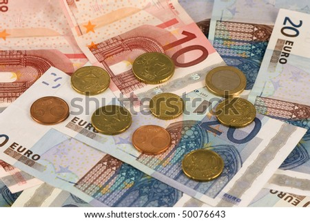Different european coins and notes