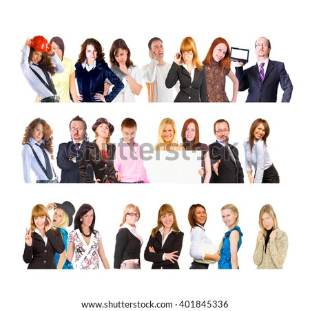 Different Expressions Small Group  - stock photo
