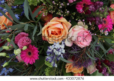 Mixed flower arrangement stock images royalty free images for Different color roses bouquet
