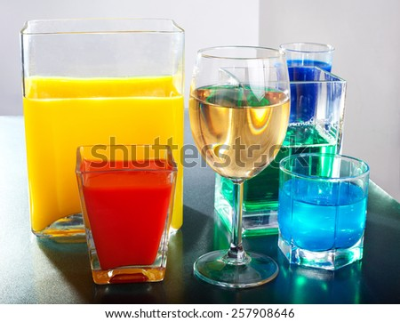Different forms. Different drinks. - stock photo