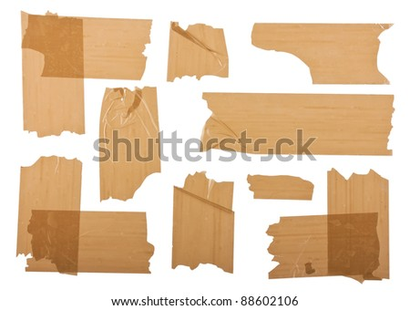 Different fragments of the brown scotch isolated on white - stock photo
