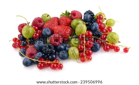 different fresh berries on a white background