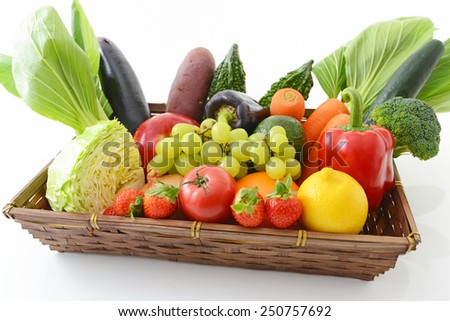 Different fresh fruits and vegetables - stock photo