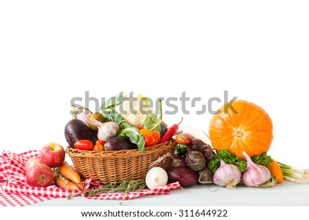 Different fresh vegetables in basket - stock photo