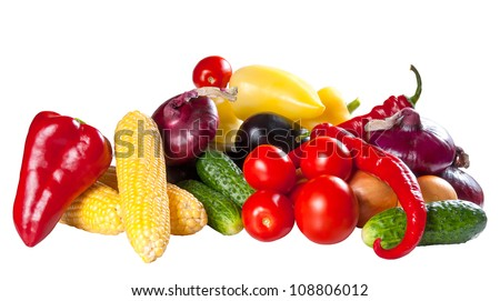 Different fresh vegetables isolated on a white background - stock photo