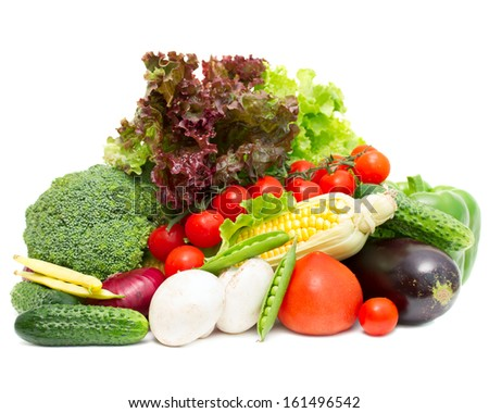 Different fresh vegetables isolated on white