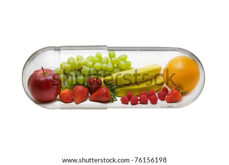 Different fruit in capsule - healthy diet concept - stock photo