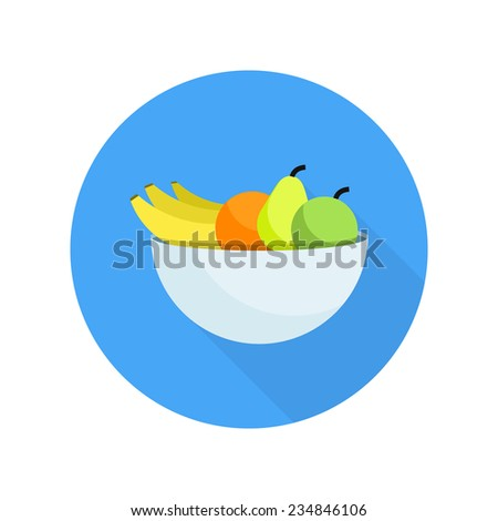 Different fruits in bowl icon in flat design. Raster version - stock photo