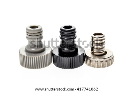 Different Garden water hose nozzle or connectors isolated on white background - stock photo