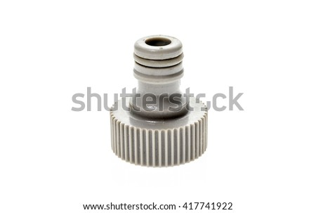 Different Garden water hose nozzle or connectors isolated on white background