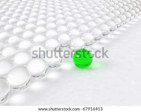 Different glass green ball - stock photo
