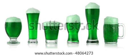 Different glasses of St. Patrick's Day green beer - stock photo