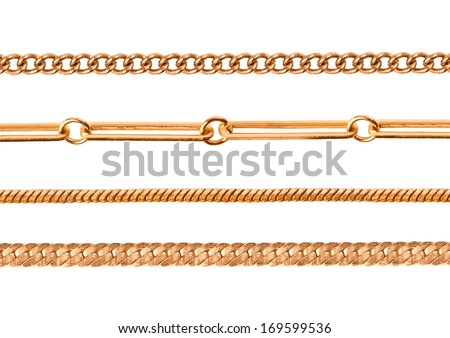 Different gold chains isolated on white - stock photo