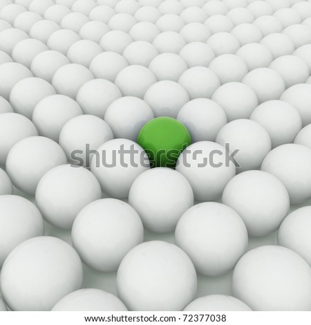 Different green ball with white balls - stock photo