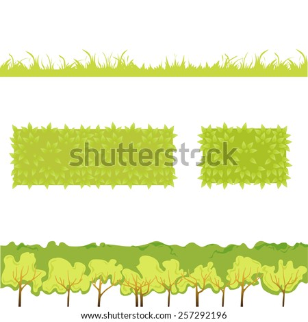Different Green Grass with bushes. Isolated On White Background. Illustration. Concept  design elements for garden. Spring Garden