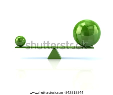 Different green spheres balancing on a seesaw 3d illustration isolated on white background