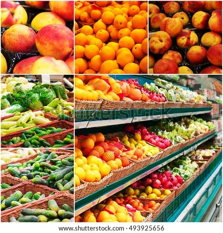 Different grocery shelves full of fruit and vegetables, collage of colorized photo.