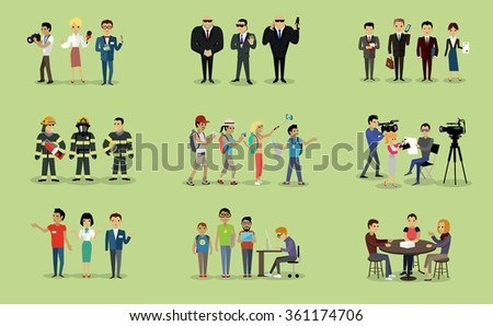 Different groups of people firefighter lawyers,  journalist and bodyguard, lawyer and focus group, geek and sales team, camera crew and tourist illustration. Raster version