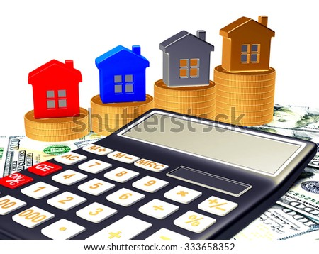 Different houses on stacks of golden coins and calculator on dollar bills