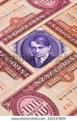Different Hungarian  banknotes from on the table - stock photo