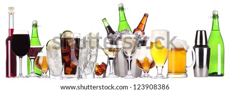 different images of alcohol isolated - beer,martini,soda,champagne,whiskey,wine
