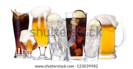 different images of alcohol set isolated - beer,soda,