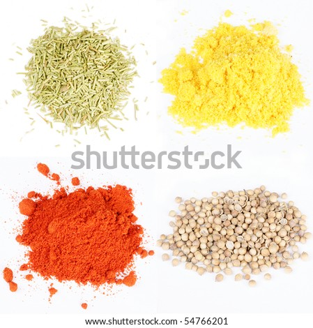 different isolated spices on white background red pepper, curry, rosemary coriander - stock photo
