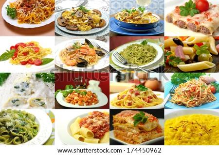 different italian pasta collage  - stock photo