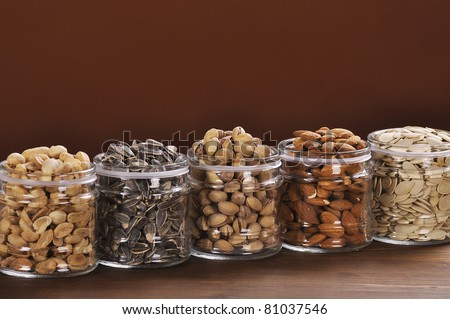 Different jars with seeds