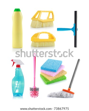 Different kind of cleaning products - stock photo