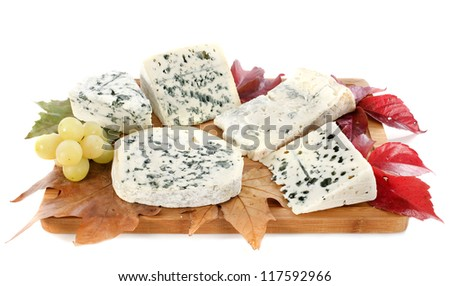 different kinds of blue cheeses in front of white background - stock photo