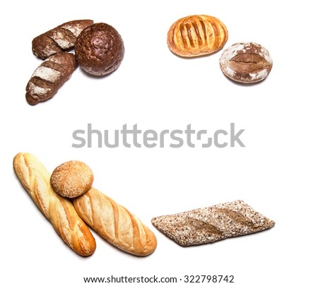 Different kinds of bread isolated on white - stock photo
