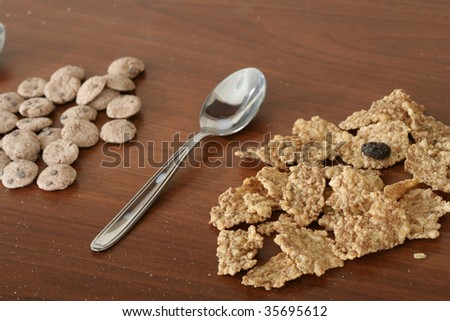 Different kinds of breakfast cereal. - stock photo