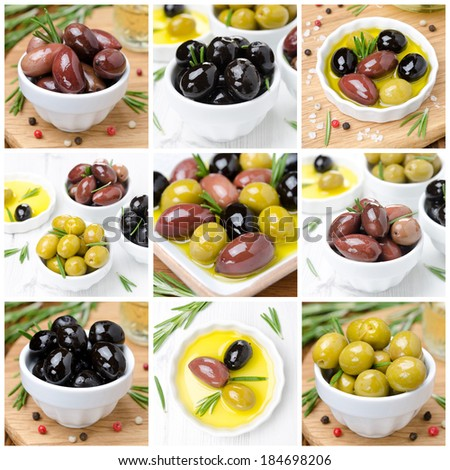 different kinds of olives, spices and olive oil, collage of nine photos - stock photo