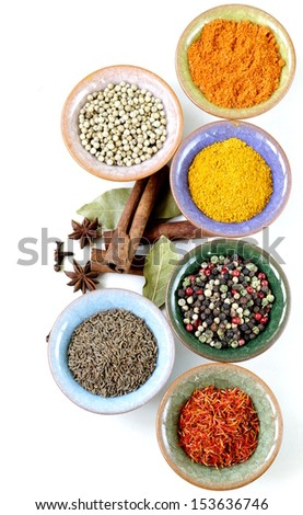 different kinds of spices in ceramic bowls - stock photo