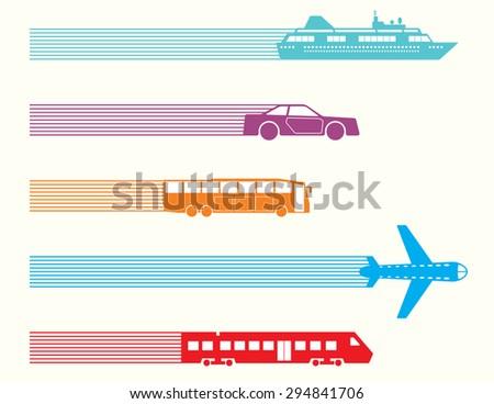 Different kinds of transport set. Raster version - stock photo