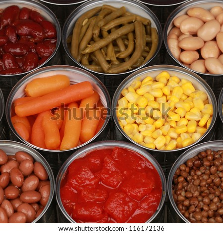 Different kinds of vegetables such as corn and carrots in cans - stock photo