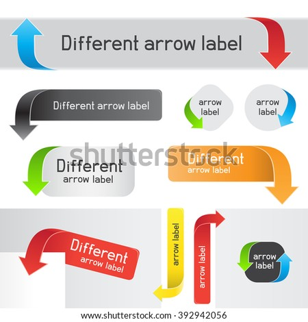 Different label mark pointer arrows on a white background. Colored arrow signs