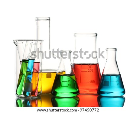 Different laboratory glassware with color liquid and with reflection isolated on white