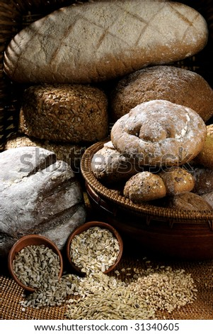 different loaf of bread . - stock photo