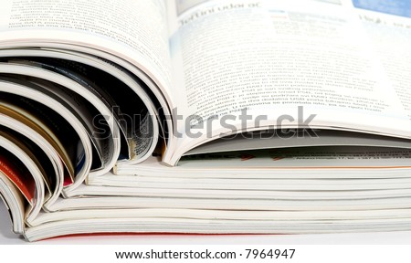 different magazines studio isolated on white