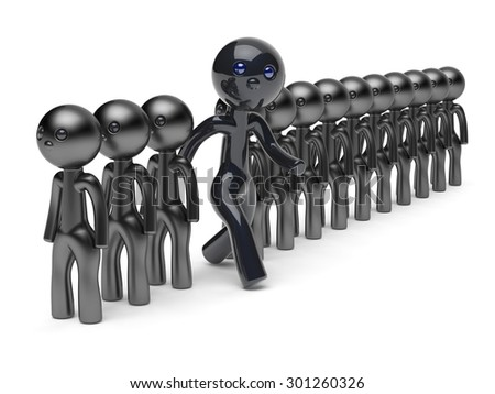 Different man stand out from the crowd character people think differ unique person otherwise run to new opportunities concept individuality referendum vote icon black 3d render isolated - stock photo