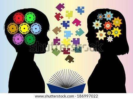 Different mindset. Boys and girls develop different mode of thought and abilities - stock photo
