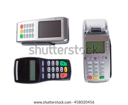 Different modern models of pos terminal - contactless pos terminal, pos terminal with touchscreen.  Isolated on white.