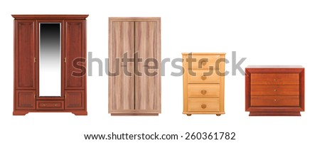 different modern wooden wardrobes on a white