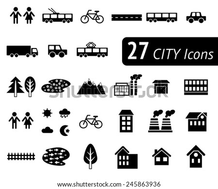 Different monochromatic flat city elements for creating your own map. Map elements for your pattern, web site or other type of design. - stock photo